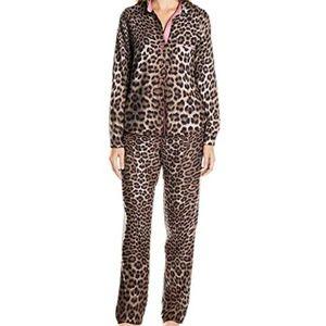 Betsey Johnson Leopard Print Flannel Pajama Set